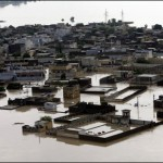Aerial view shows Nowshera city submerged in flood water