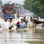Flood effected people trying desperately to reach safe area